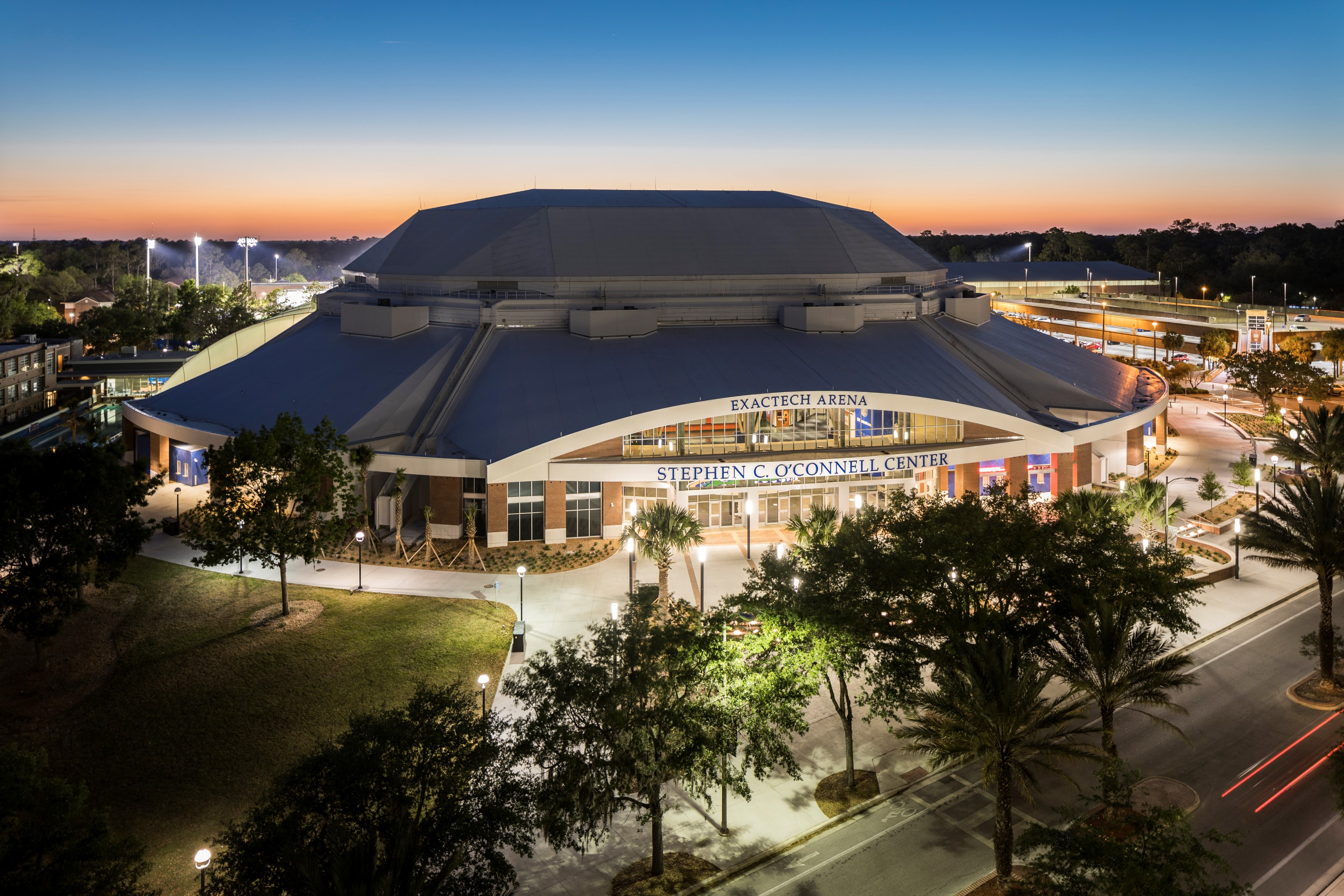 O Connell Center Renovations : O connell center exterior night stephen c